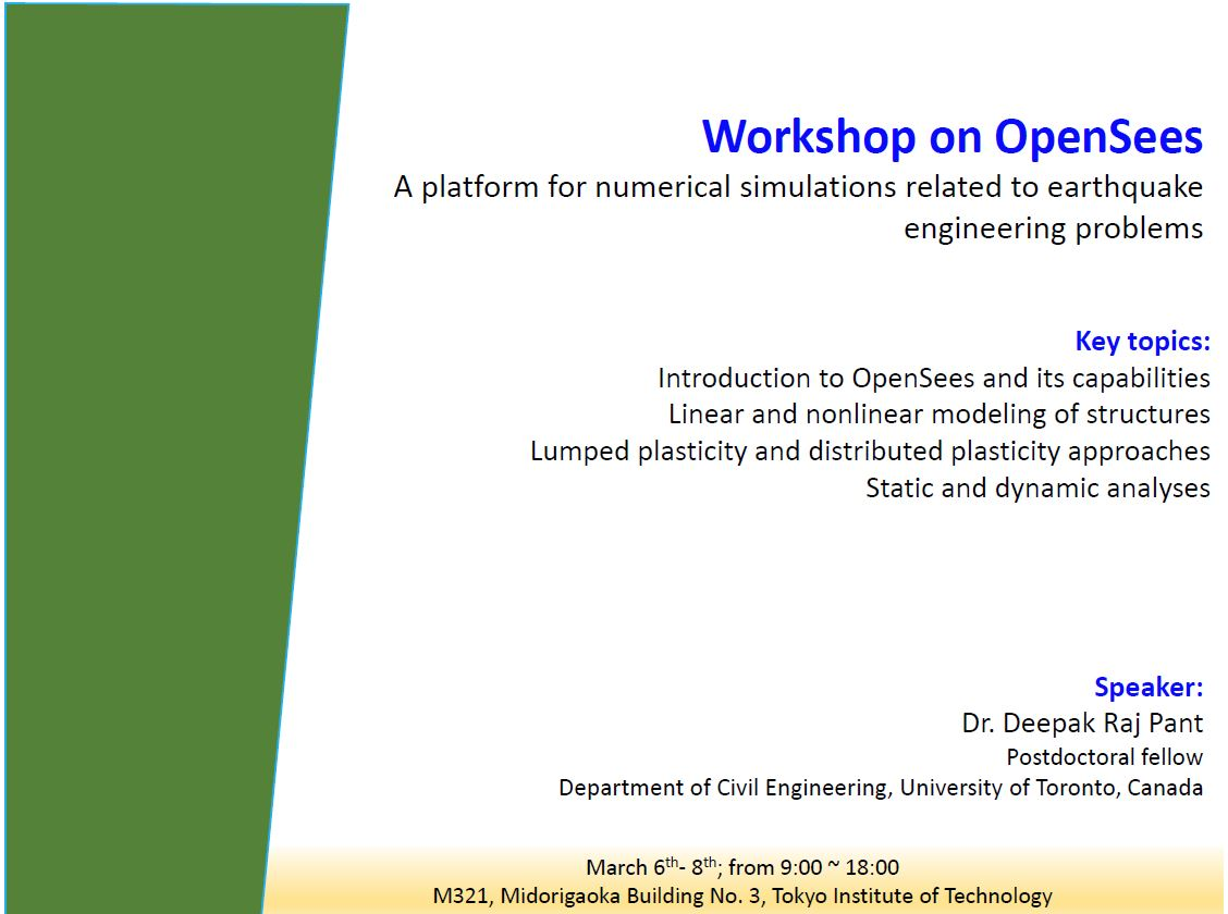 anil lab 2017 workshop on opensees a platform for numerical simulations related to earthquake engineering problems mar 6 8 from 9 00 18 00